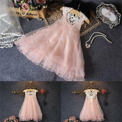 Flower Girls Kids Baby Summer Princess Party Pageant Wedding Tulle Tutu Dresses