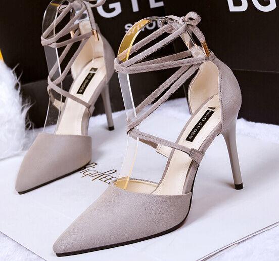 Décollte chaussures decolte sandali  10 cm stiletto tacco spillo gris 8620