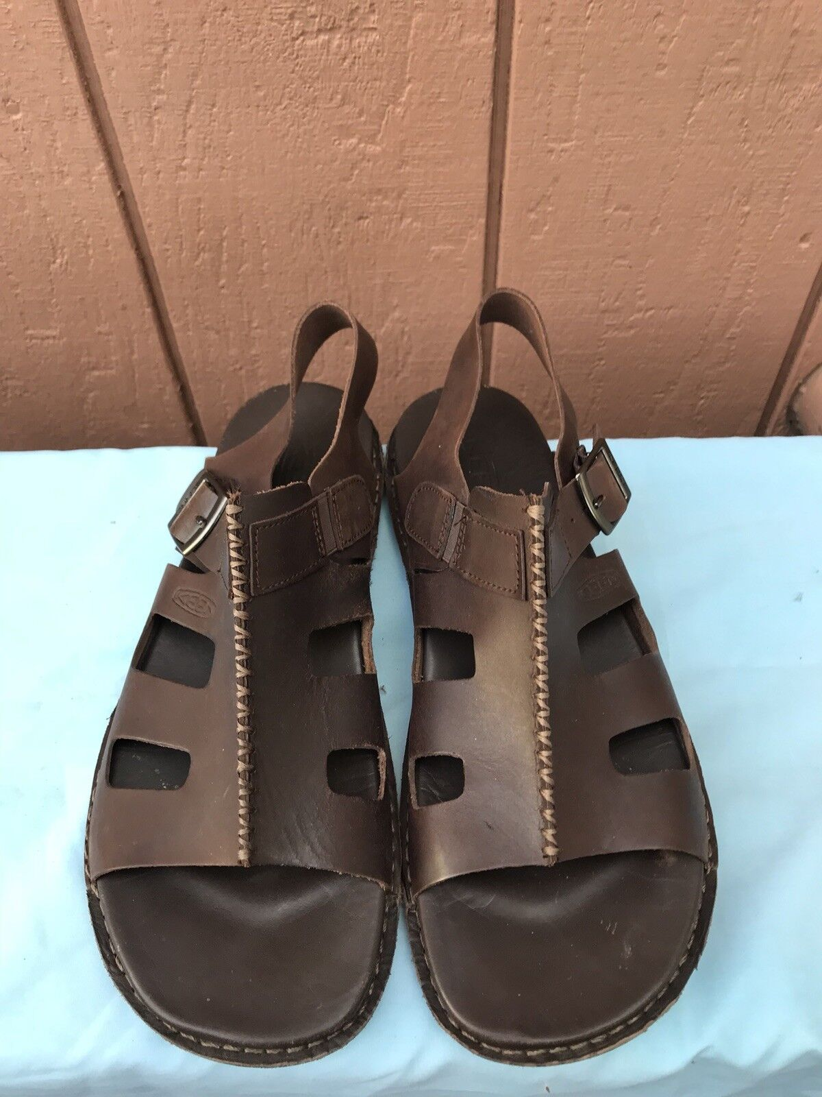 RARE RARE RARE EUC Keen Uomo Dimensione US 10.5 EUR 44 Marronee Leather Open Toe Sandal scarpe A5 055730