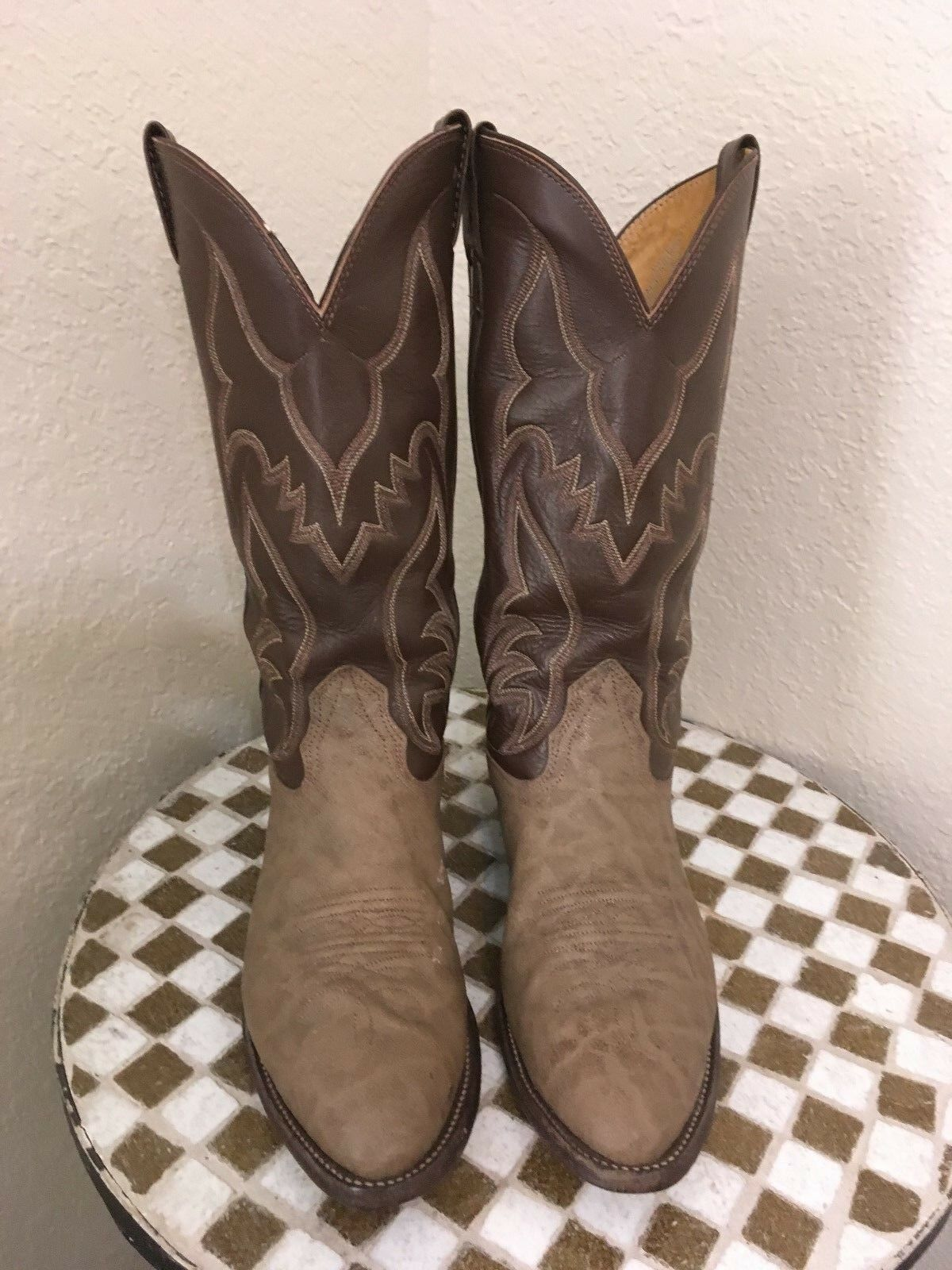 USA Nocona Cuero Marrón De Colección Occidental botas De Vaquero 8.5E