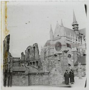 Francia Cattedrale Foto Stereo PL46Th1n2 Placca Da Lente Vintage C1925