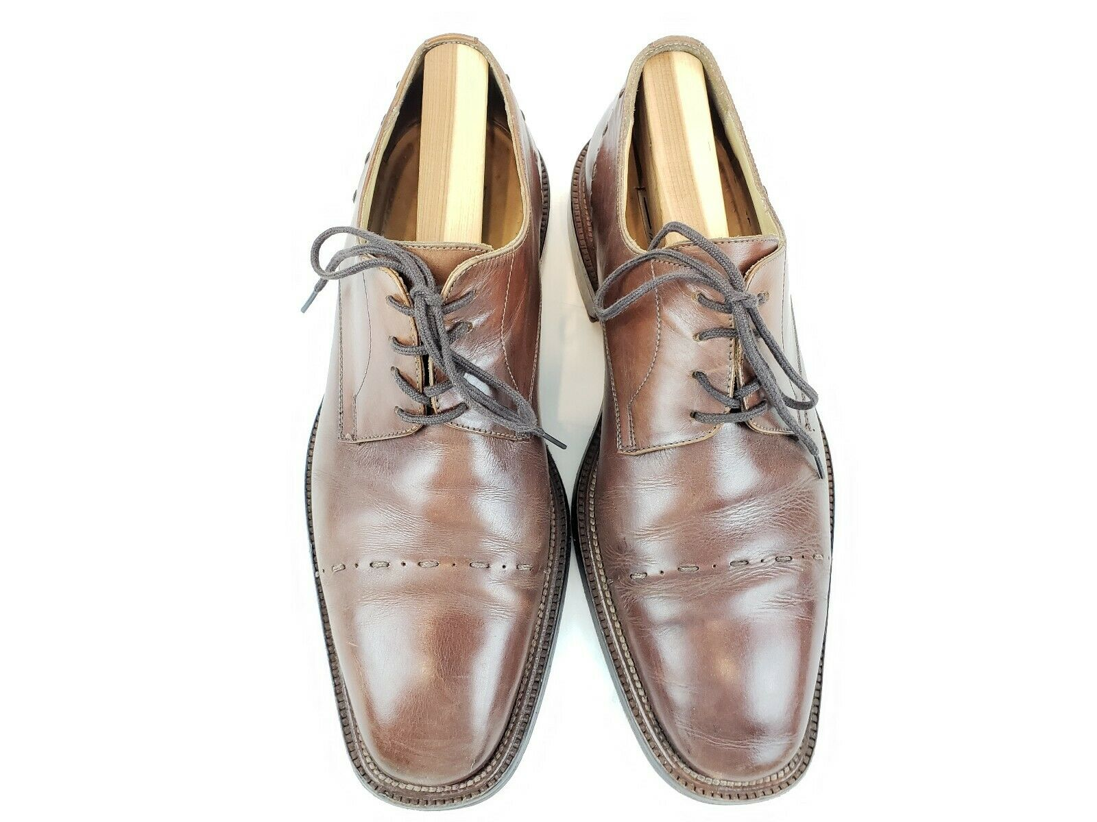 Mercanti Fiorentini Men's Brown Leather Wingtip Oxford shoes Sz 8.5M Made