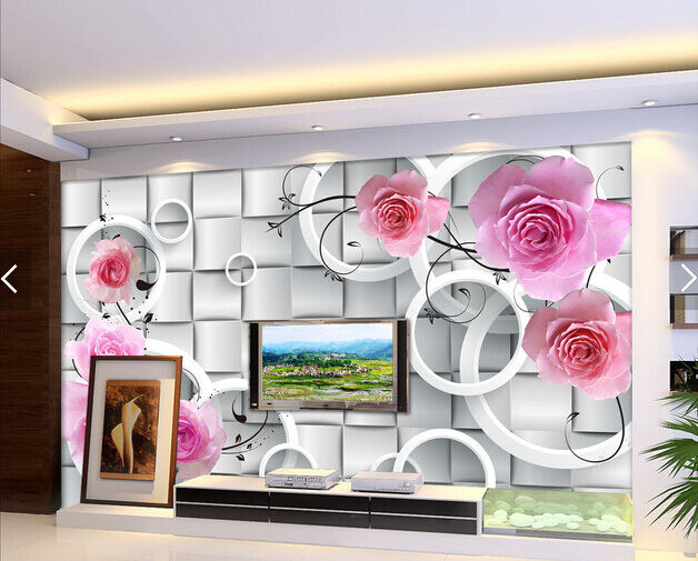 3D pink Kreis 3255 Fototapeten Wandbild Fototapete BildTapete Familie