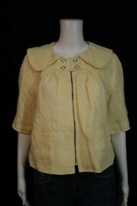 Walter-Baker-Misses-SMALL-Pale-Yellow-3-4-Sleeve-Cropped-Linen-Blazer-Jacket