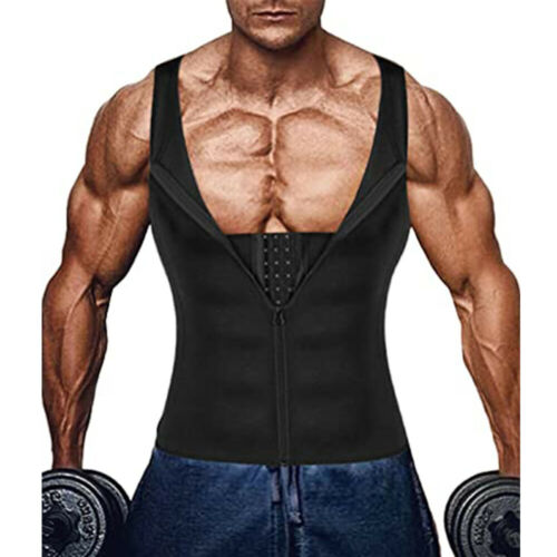 Men/'s Neoprene Sauna Thermo Sweat Body Shaper Waist Trainer Burn Fat Corset Vest