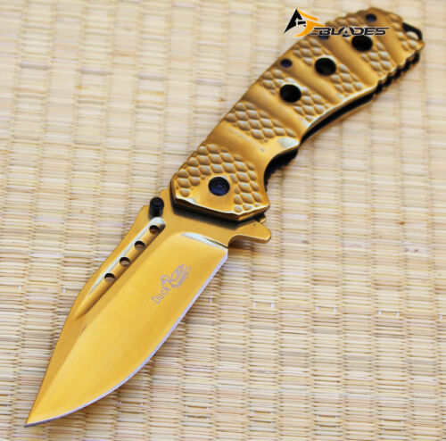 6PCS 3 COLOR DUCK ALL METALLIC TITANIUM COATED Spring Assisted P//KNIVES 110349