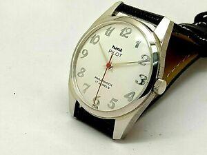 Details about Hmt Pilot Hand Winding Gents Steel Parashock 17J Vintage  India Watch Run Order