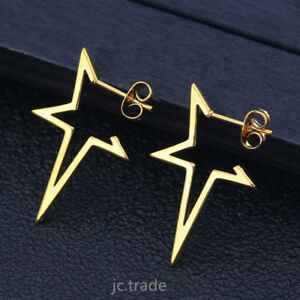 b4102f1b0 Women Simple Rose Gold Gold Silver Plated Stainless Steel Star Ear ...