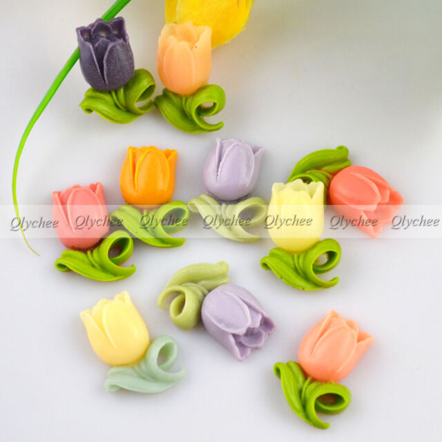 High Quality Colorful Tulips DIY Resin Flower Flatback Scrapbook Decorations