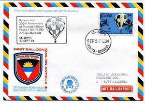 1984 Sonder Ballonpost N. 29 N. 1 Antigua Barbuda Pro Juv. Aerostato Oe-azp Onu