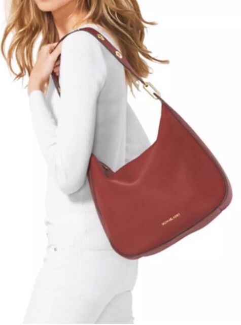 67b1a83f9601 NWT Michael Kors Raven Grommet Shoulder Large Pebbled Leather Brick red $348