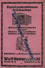 BERLIN, Werbung 1925, Wolf Netter & Jacobi Eisen Brücken Bibliothek Archiveinric