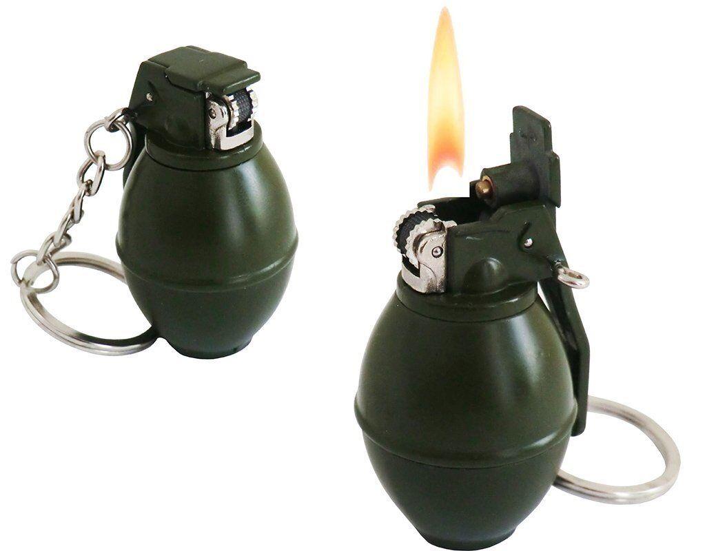 LLAVEROS - GRANADA GAS ENCENDEDOT EN FORMA DE BOMBA / GRANADA - - IDEA DE REGALO 5c718a