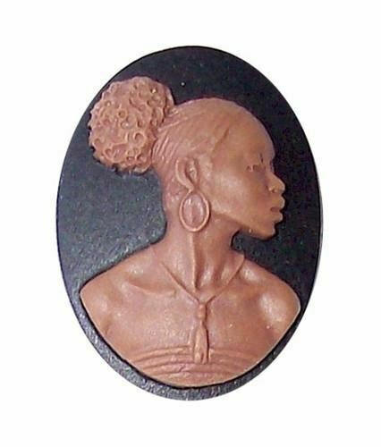 25x18mm Black and Brown African American Resin Cameo 732x