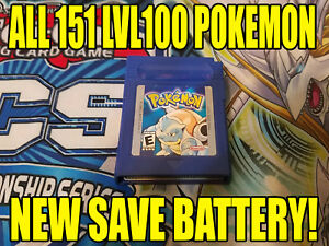 POKEMON-BLUE-All-151-GAME-UNLOCKED-AUTHENTIC-amp-NEW-BATTERY