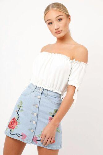 Femme Femmes Bardot Off Épaule Cravate à manches courtes T shirt Crop Top Haut UK 8-14