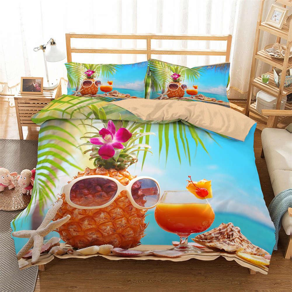 Pineapple Glasses Juice 3D Digital Print Bedding Duvet Quilt Cover Pillowcase
