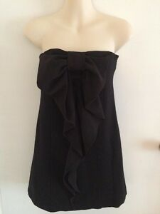 As-New-Mango-Casual-Sportswear-Black-Bow-Mini-Dress-Or-Top-Size-S