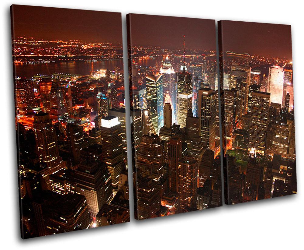New York NYC Skyline Skyline Skyline City TREBLE TELA parete arte foto stampa b18cfd