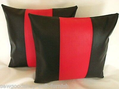 "2 Claret Red Faux Leather Classic Cushion Covers 16/"" 18/"" 20/"" Scatter Pillows"