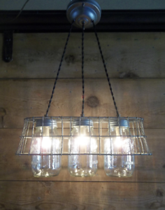 Farmhouse Chandelier 3 Mason Jar Ceiling Light Fixture Milk Crate Wire Basket Ebay