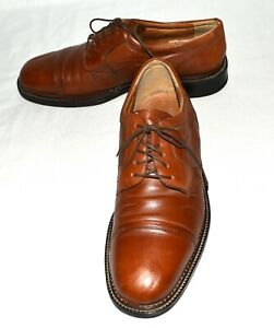 Ease-by-Florsheim-Brown-Leather-Cap-Toes-Mens-Lace-Up-Oxfords-Size-12D-Italy