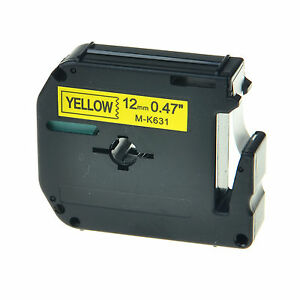 """1PK M-K631 MK631 Black on Yellow Label Tape For Brother P-Touch PT-85 1/2"""" 12mm"""