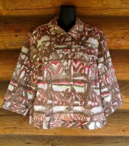 Chicos-Size-3-Brown-Pink-Abstract-Print-Denim-Style-Jean-Jacket-Womens-XL-14-16