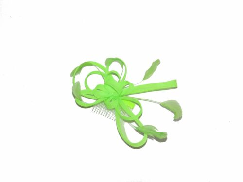WEDDING LARGE CLEAR COMB YELLOW PINK GREEN RACES STUNNING NEON HAIR FASCINATOR