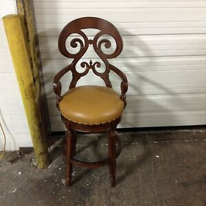 Incredible Details About Frontgate Brianna Leather Seat Barstool Counter Bar Stool 26 Wood Chair Pecan Machost Co Dining Chair Design Ideas Machostcouk