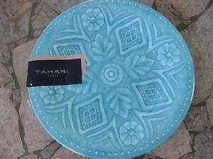 TAHARI TEAL BLUE SIDE SALAD PLATE FLORAL Medallion MELAMINE Set of 4