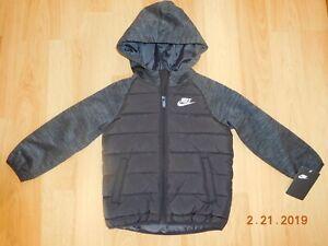 33b780fff341 Nike Youth Boys Quilted Full Zip Hooded Jacket Coat 86B910 K25 Black ...