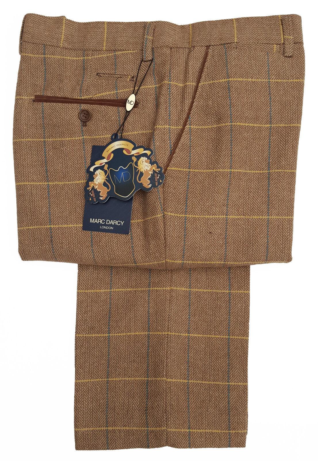 Herren Marc Darcy Tweed Karierte Hose Style DX7 - Eiche