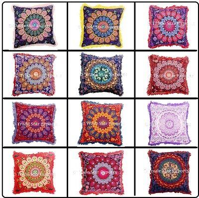 Indian Mandala Fringe Pillow Case 16x16 Decorative Square Cotton Cushion Cover