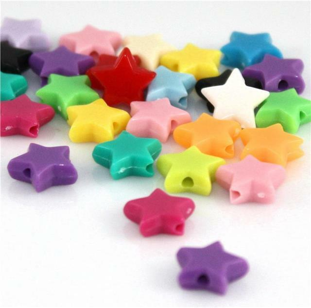 ACRYLIC PONY BEADS 10.5mm x 8mm 100 per bag STYLE 3 ...STARS