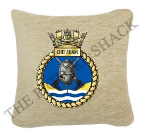 HMS-CHELSHAM-CREST-ON-A-CREAM-CHENILLE-CUSHION-2-SIZES-AVAILABLE-ROYAL-NAVY
