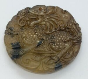 Vintage-Antique-Jade-Necklace-Pendant-Green-Carved-Dragon-Round-Circle-China