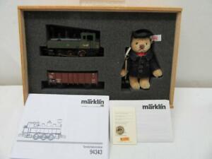 H0-Marklin-Steiff-94343-Loco-Gondola-amp-Stoker-Bear-Limited-Edition-2010-NIB