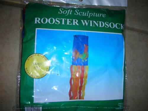 E 3 Blue New!!!!!! Yard Art Soft Sculpture Rooster Windsock