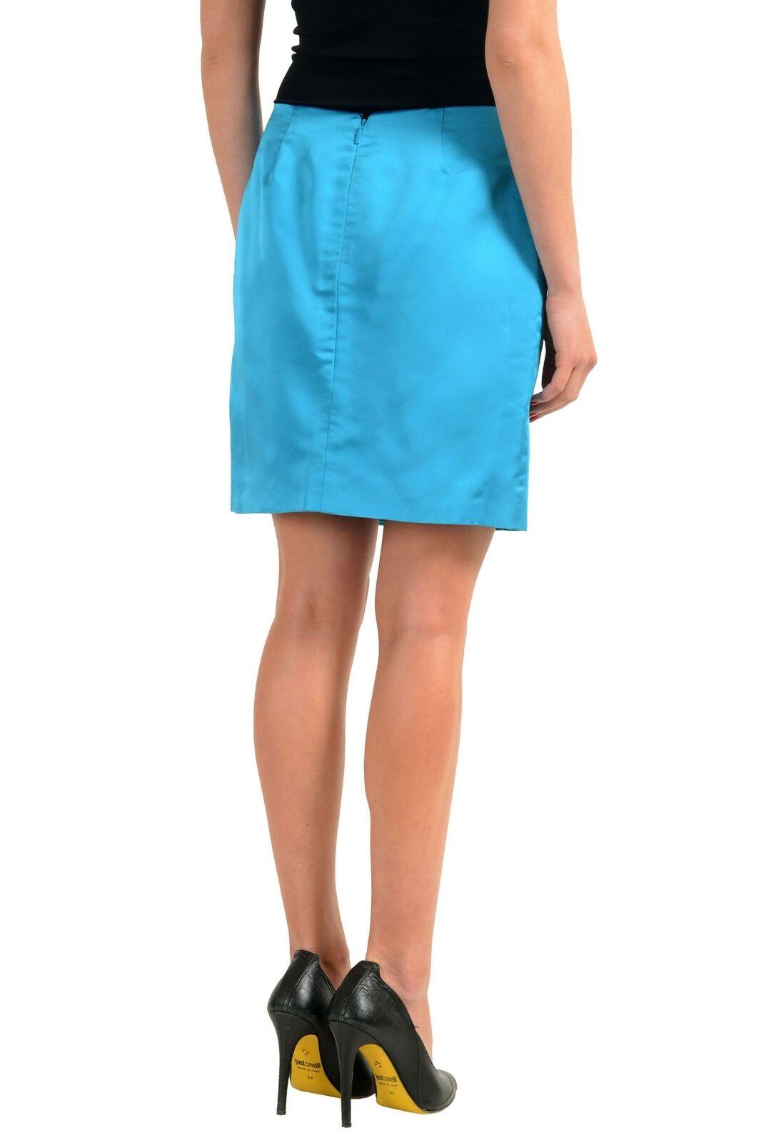 Versace 100% 100% 100% Seta Blu Donna Gonna Dritta Taglie S M L 7db066