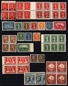 Canada-166-233-1931-1947-Blocks-amp-Singles-Mint-21-items