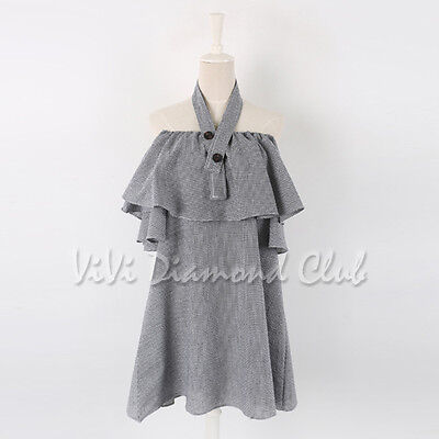 Fashion Korean Style Women Sexy Summer Ruffled Flounce Off Shoulder Mini Dress