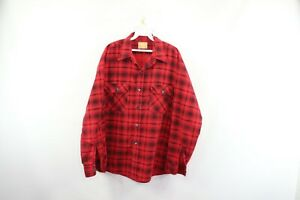Vintage-80s-Sears-Mens-XL-Buffalo-Plaid-Double-Pocket-Long-Sleeve-Flannel-Shirt