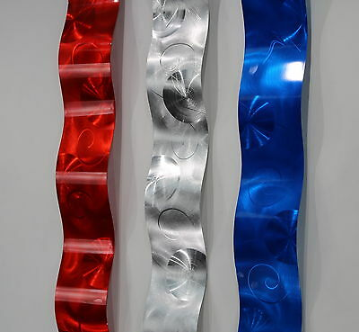 Blue/Red/Silver USA Modern Metal Wall Art Accent Sculpture - Waves of Freedom