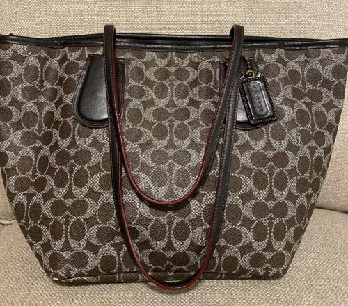 COACH Signature Coated Canvas Taxi Tote ~Brown Sig