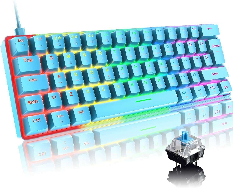 UK Layout Wired Gaming Keyboard 60% True Mechanical Keypad 19 RGB Chroma Backlit