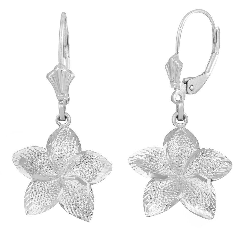 Solid 14k White gold LG Five Petal Textured Plumeria Flower Earring Set