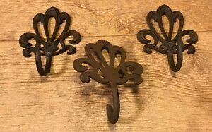 Small Robe//Coat Hook SET OF 6 Rustic Brown Reproduction Cast Iron