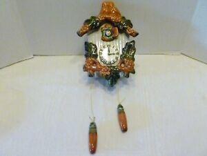 Vintage CUCKOO CLOCK Art Pottery WALL POCKET Bird House PLANTER