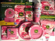 JOHN DEERE PINK - Birthday Party Supply SUPER Kit w/ Banner,Centerpiece & more !